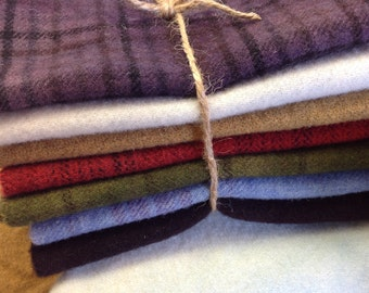 Winter Country Brights, Hand Dyed Wool Fabric for Rug Hooking and Applique, 7) Fat Sixteenths, W215