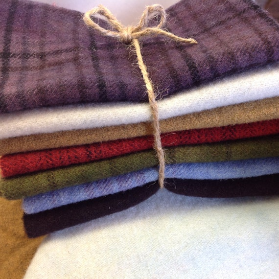 Winter Country Brights, Hand Dyed Wool Fabric for Rug Hooking and Applique, 7) Fat Sixteenths, W215  LAST ONE