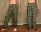 vintage 40s army pants US military HBT herringbone twill 13 star button 1940 WW2 WWII olive green Star zipper 30x30 30 waist