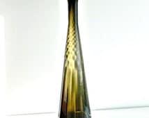 ON SALE Mid Century Modern Glass Vase Epoli Italy 1960s Tall Handblown Italian Optic Smoke Glass Bottle MCM