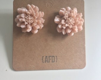 Large flower earrings | dusty rose | boho chic