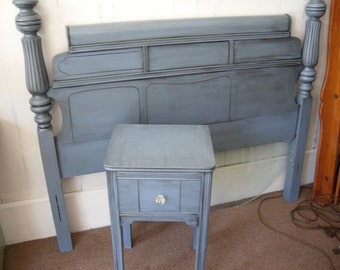 Headboard and Nightstand Painted Furniture Blue Gray Full/Queen Bed