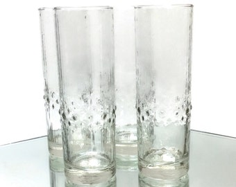4pc set Vintage Durobor Alaska Tall Cocktail Ice Tea Tumblers Glasses ice texture Raindrop Design 1960s Belgium