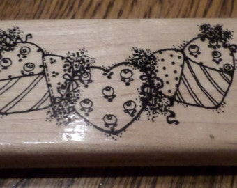 Dots String Of Hearts P134 Wooden Rubber Stamp