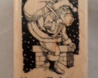 Inkadinkado Merry Christmas Santa Claus Going down the Chimney Wooden Rubber Stamp
