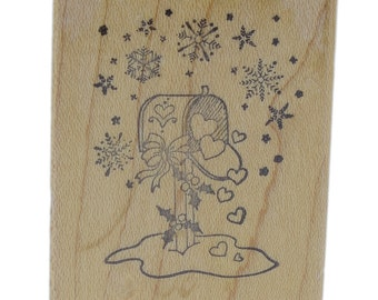 PSX Mailbox with Snowflakes Winter Thoughts C-522 Wooden Rubber Stamp