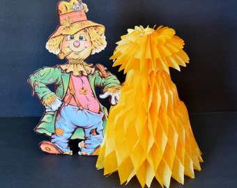 Vintage Honeycomb Tissue Scarecrow Haystack Table Centerpiece Party Decoration Fall Harvest Orange Gold Green Beistle Co.