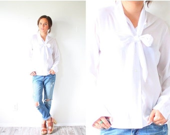 30% OFF out of town SALE Vintage boho white bow neck tie blouse // boho top summer white blouse // modest blouse top // long sleeve blouse /
