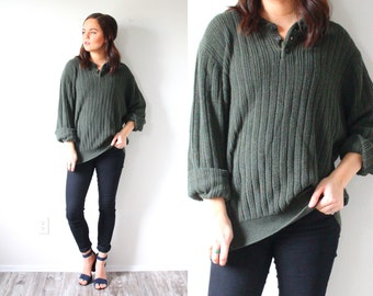 Vintage oversized sweater // winter dark green oversized sweater // oversized jumper / button down sweater / large sweater / ribbed sweater