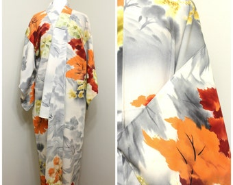 Vintage Japanese Kimono. Hand Dyed Silk Robe. Traditional Japanese Clothing in Fall / Autumn Shades (Ref: 1676)