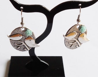 Earrings with birds and little flower