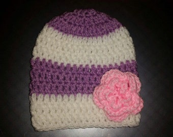 Striped Hat with a Pretty Flower