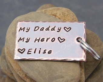 My Daddy My Hero, DAD KEYCHAIN, Personalized Fathers Day Keychain, Fathers Day Gift from Child, Gift for Dad from Daughter, Stepdad Gift