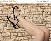 LAST SALE 20% OFF Black Leather Toe Ring Barefoot With Ankle Strap Handmade Sandals - Dream