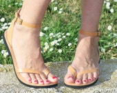 Simple and Sexy Delicate Natural Color Leather Sandals Ankle Strap Barefoot with Designs - Crystal