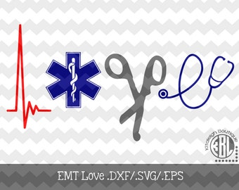 EMT Love INSTANT DOWNLOAD in .dxf/.svg/.eps for use with programs such as Silhouette Studio and Cricut Design Space