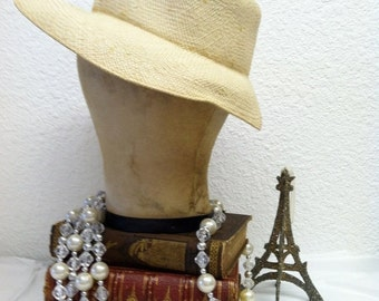 ON SALE Vintage 1940s Panama Hat forties Woven Straw