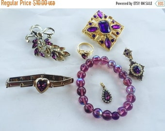 MOVING SALE Half Off Shades of  Purple  Destash Craft Lot of Colorful  Rhinestone Jewelry Parts and Pieces for Repurposing