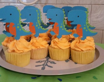 12 Dinosaur cupcake toppers