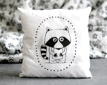 Animal pillow with RACCOON Stuffed pillow Decorative pillow Nursery decor Illustrated cushion Black white Scandinavian style