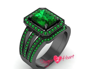 3.25 Ct Green Emerald Cut Cubic Zirconia Wedding Ring Set 925 Sterling Silver Engagement Ring Band Set 10K Black Gold Finish Bridal Ring Set