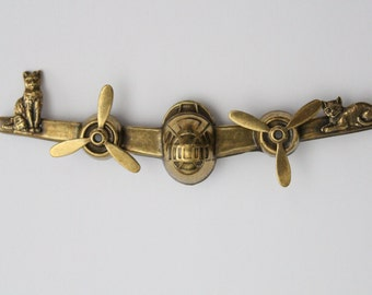 SALE - Vintage Cat Airplane Brass Brooch Spinning Propellers . 3.75 inches