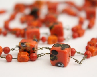 SALE - Vintage Long Orange Glass Bead Necklace Lampwork Boho Cube . 56 inches