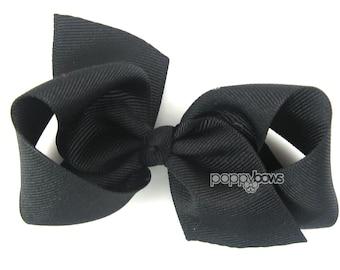 """Black Hair Bow, girls hair bow, 3.5"""" Loopy Hair Bow, girls hair bows, girls bows, boutique 3.5 inch for girls, baby hair bows, non slip cute"""