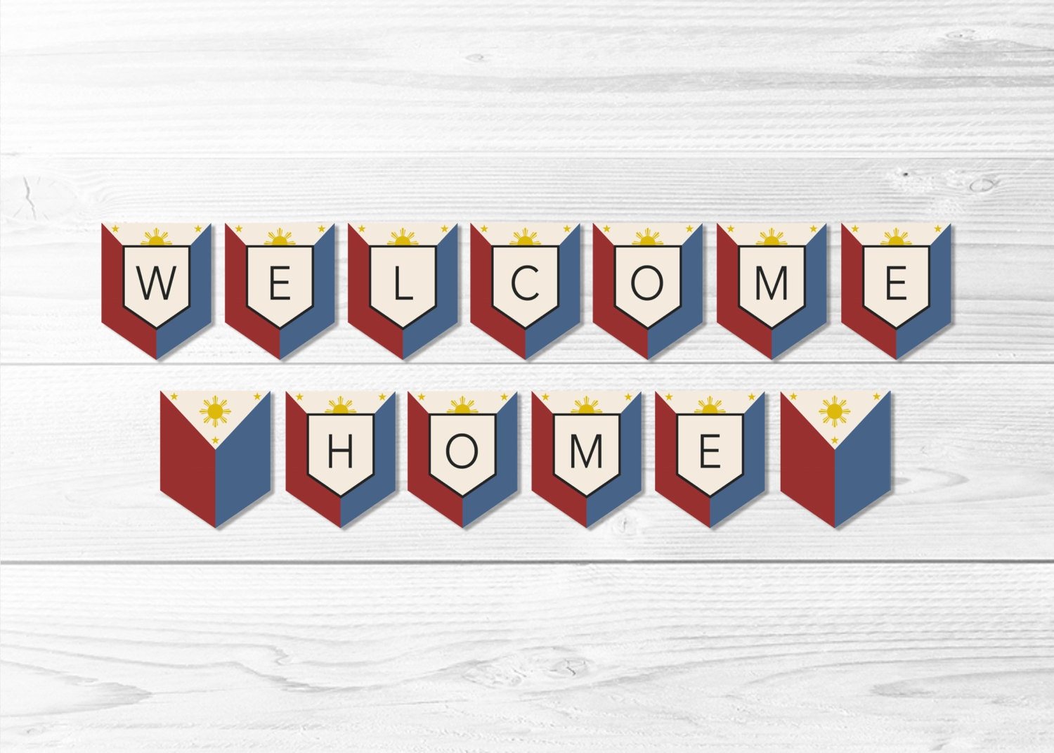 Welcome home philippines flag banner filipino flag banner for Patriotic welcome home decorations