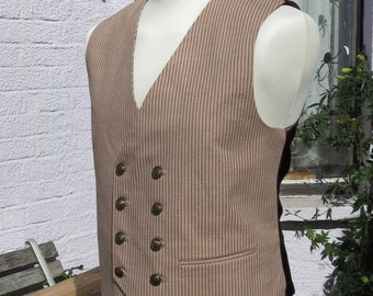 mens steampunk Waistcoat  brown stripe double breasted vest chocolate satin back and lining