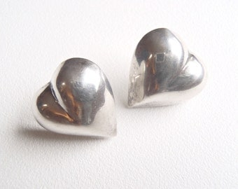 Sterling Silver Heart Earrings - Vintage Puffy Hearts Smooth Shiny Hearts for Pierced Ears with .925 Ear Post Fasteners Valentine's Day Love