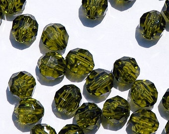 6mm Round Faceted Beads - Olive Translucent - 500 piece bag