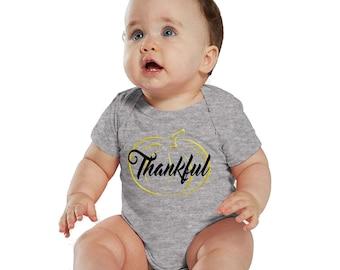 Thankful Gold Pumpkin Baby Girl Heather bodysuit or Shirt