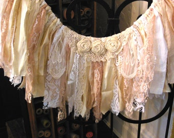 lace fabric banner, shabby fringe garland, fringe banner, vintage look, pink white neutrals, rustic romantic home decor, window door bunting