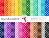 Rainbow Scallops Digital Paper Set - scallop pattern, scallops paper pack, rainbow - personal use, small commercial use, instant download