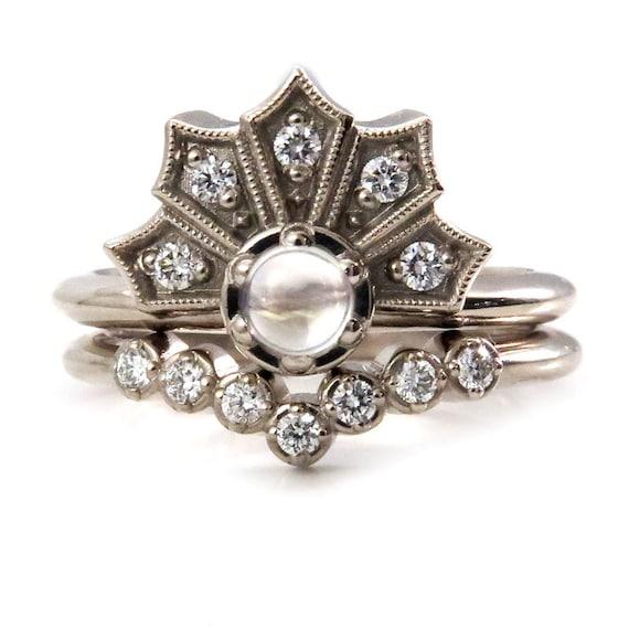 Diamond Crown Engagement Ring Set with Moonstone and Diamond V Stacking Band - Modern Art Deco 14k Palladium White Gold