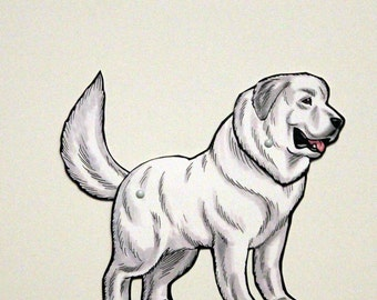 Great Pyrenees Pyr Articulated Paper Doll, Gift Tag or Magnet