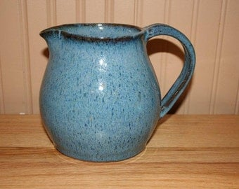 Large blue pottery pitcher, handmade pitcher, drink pitcher, juice pitcher, ice tea pitcher