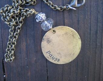 HIPPIE PENDANT CHOKER pause stamp Herkimer Diamond/sterling bead Christmas gift