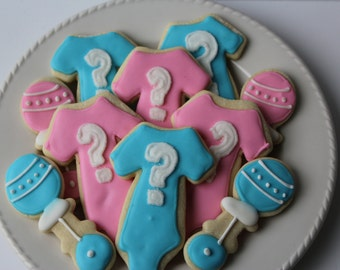 Gender Reveal Sugar Cookies - Gender Reveal Party -decorated cookie - Gender Reveal - Baby Gender - Gender Reveal Decorations