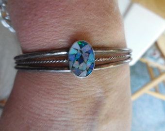 Vintage Sterling Silver Cuff Bracelet Mosaic Opal Stones Dainty Oval Twisted 1970s Handmade