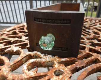 Vintage 1940s to 1950s Wood Drawer Sewing Drawer Oak Untouched Light Green Glass Pull/Knob For Repurposing Shabby Chic