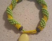 Bead Crochet Green and Yellow Bracelet