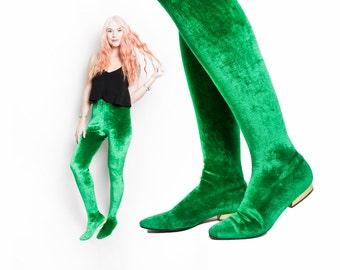 Vintage 1960s RARE Anne Klein Pan T Boots - Green Velvet Legging Shoes - SZ 8 M