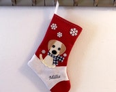 Retriever Dog Personalized Christmas  Stocking by Allenbrite Studio