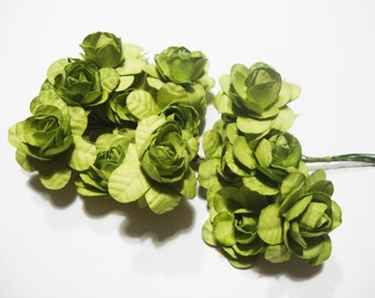 Medium Apple Green Mulberry Paper Roses Flowers Large