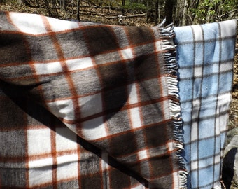 "Sale Large Vintage reversible fluffy plaid bedspread blanket throw size 62""x 90""/ 150 x 230 cm with fringe Gift"