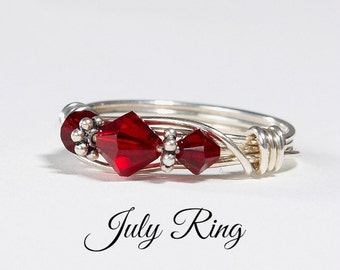 July Birthstone Ring: Handmade Sterling Silver July Birthstone Ring made with Ruby Swarovski Crystals. Birthday and Christmas gift for her.