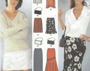 Plus Size Womens Skirts Mini, Maxi Skirts Simplicity Sewing Pattern 7097 Size 16 18 20 22 Hip 40 42 44 46 UnCut Six Made Easy Skirts