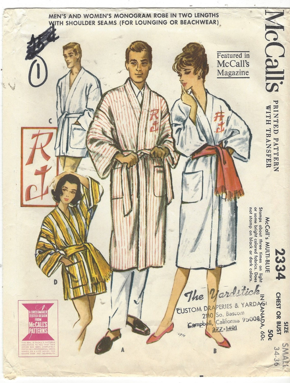 1950s mens or womens monogram robe kimono sleeves mccalls sewing get shipping estimate jeuxipadfo Gallery